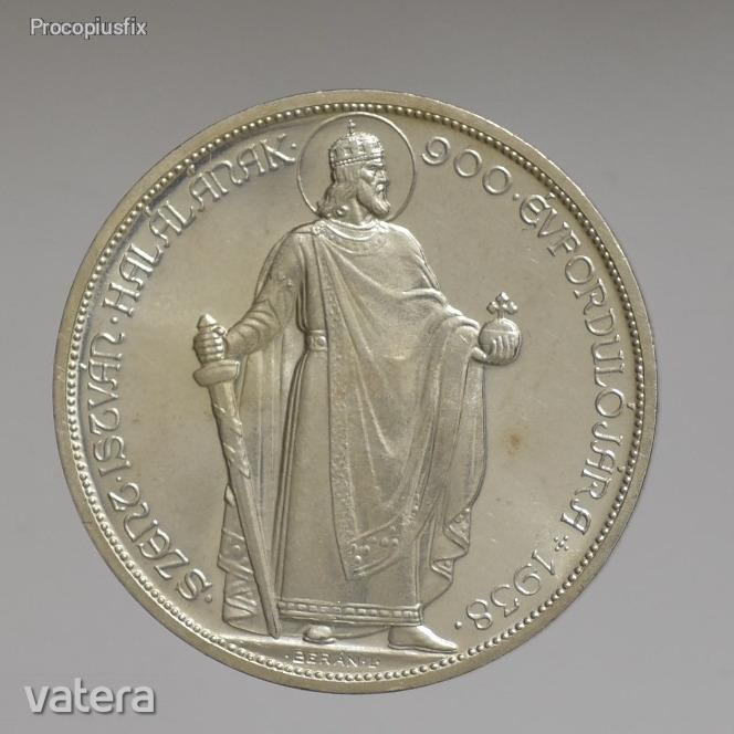 1938 Szent István ezüst 5 pengő (Artex UP, álló király)