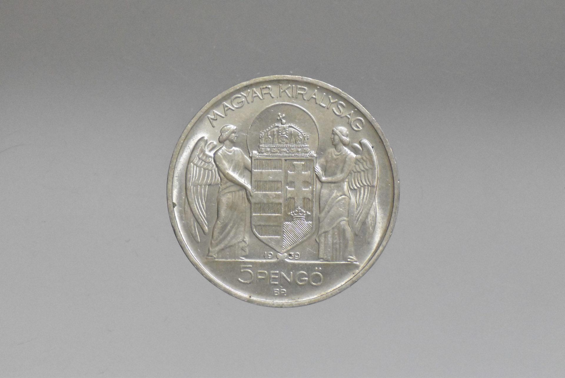 1939 Horthy ezüst 5 pengő (UNC)